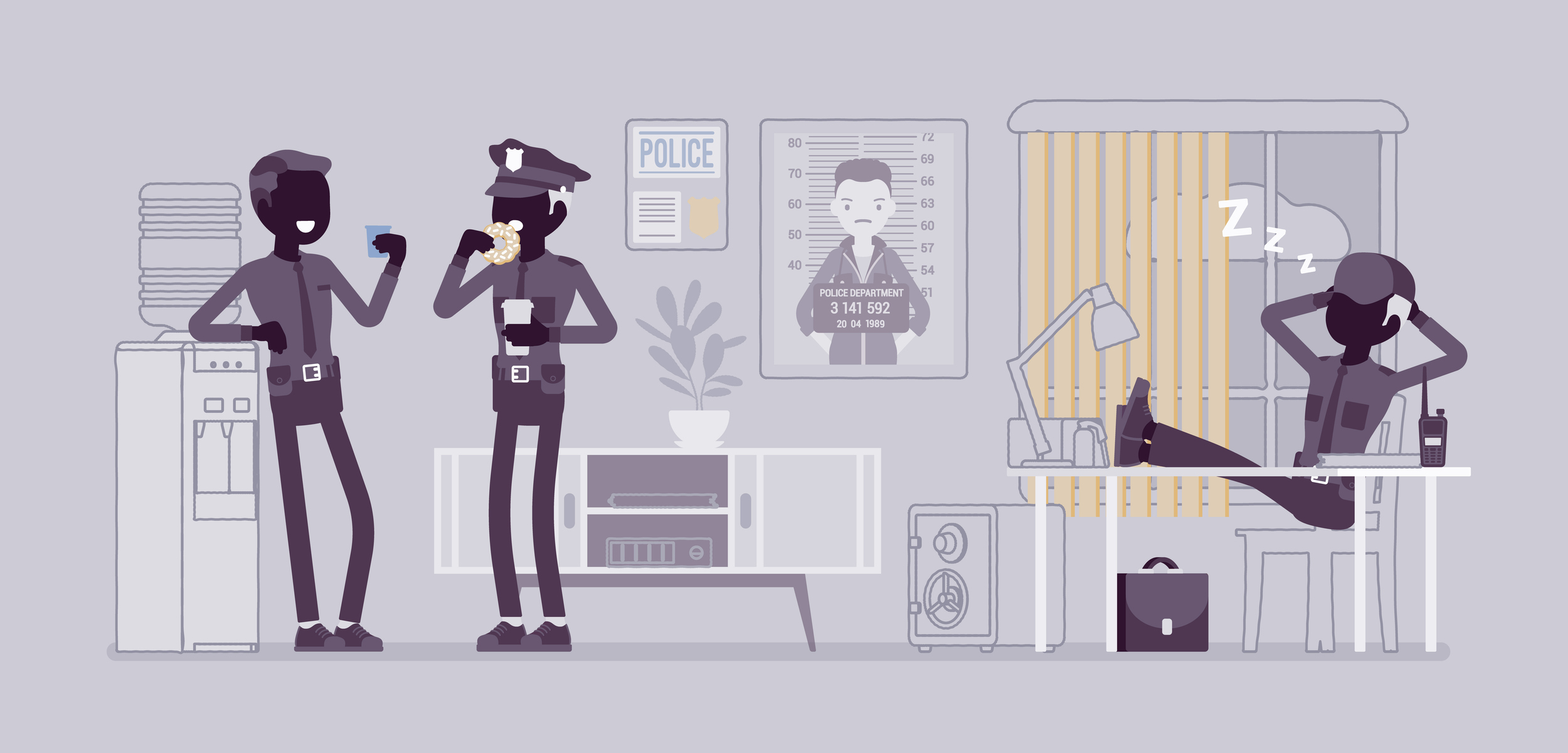 Policiers profitant d'un moment de détente dans leur commissariat